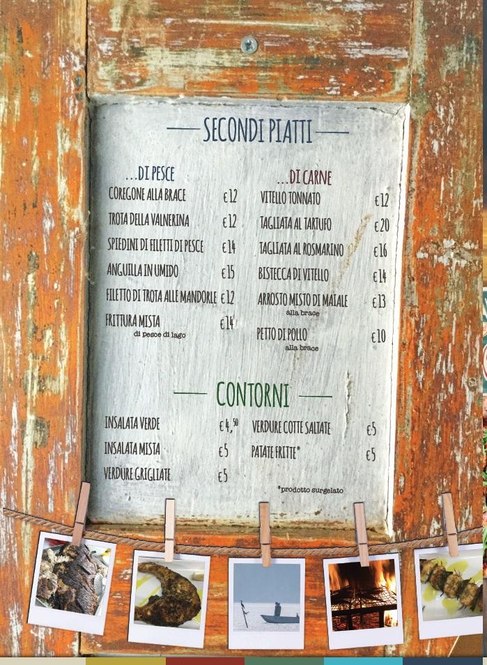 menù ristorante la capannina pagina 4 - secondi piatti - castiglione del lago