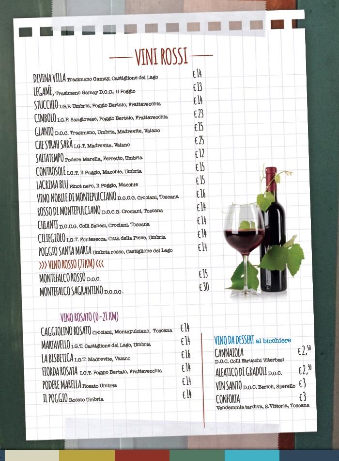 menù ristorante la capannina pagina 7 - carta dei vini rossi - castiglione del lago